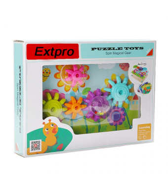 Extpro Magnetic Gear Blocks Game with Wood Board for Toddler Early Creative Toy