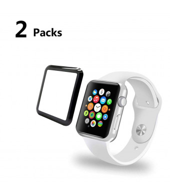 Watch Screen Protector 42mm 2 Pack Compatible Apple iWatch Anti-Scratch Bubble-Free HD-Clear Easy Installation Tempered Glass Film Accessories for Series 1/Series 2/Series 3