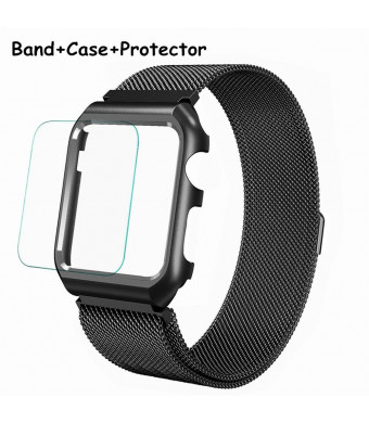 Wristel Compatible Stainless Steel Milanese Mesh Loop with Metal Case Cover and Protective Film Replacement for Apple Watch Band 38mm Series 3/2/1 Sport Edition (Black, 42mm)