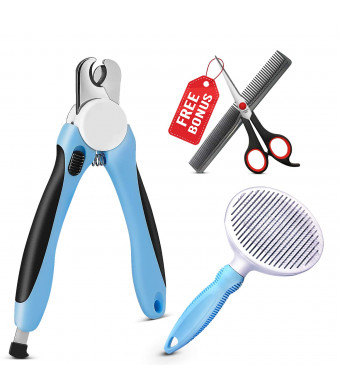 Dog Nail Clippers and Trimmer - Slicker Brush Professional Pet Grooming Kit for Small Large Breed Dogs Cats with Free File Pin Comb and Scissors Sharp Blades Safety Guard to Avoid Over Cutting Nails