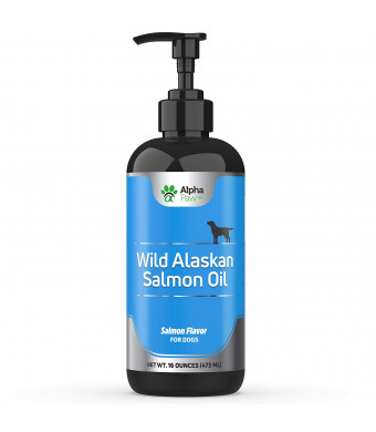 Alpha Paw Wild Alaskan Salmon Oil for Dogs - All Natural Fish Oil for Dogs - Omega 3 Supplement for Pets - Coat and Joints, Dandruff Support, Dry Skin, Immune Support - 16 Ounces