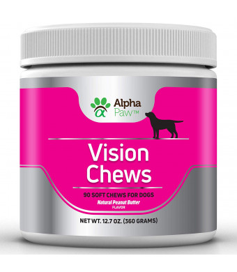 Alpha Paw Vision Supplement for Dogs - Eye Support and Care with Krill Oil, Alpha Lipoic Acid, Grape Seed, Bilberry Antioxidants, Vitamin C, Lutein and Hyaluronic Acid - 360 gm Approx. 90 Soft Chews