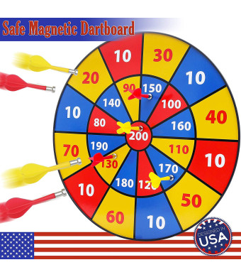 BETTERLINE Kids Magnetic Dartboard Set - Colorful 16 Inch Dart Board with 6 Magnet Darts for Kids and Adults, Gift for Game Room, Office, Man Cave and Home