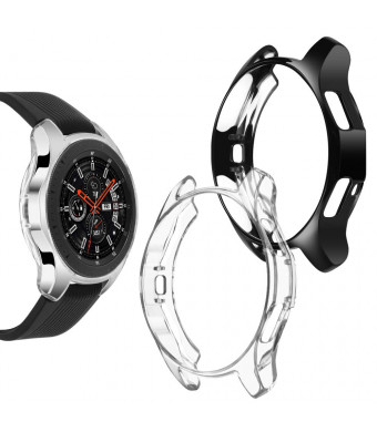 Goton Compatible Samsung Galaxy Watch 46mm Case 2018 (for SM-R805 / SM-R800 /Gear S3 Frontier SM-R760), [ 2 Color Packs ] Soft TPU Smart Shockproof Case Cover Bumper Protector (Black + Clear, 46mm)