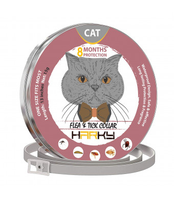 GORAUL Flea and Tick Collar for Cats - 8 Months Protection - Hypoallergenic, Adjustable and Waterproof Cat Collar - Flea Treatment Tick Prevention with Natural Essential Oil