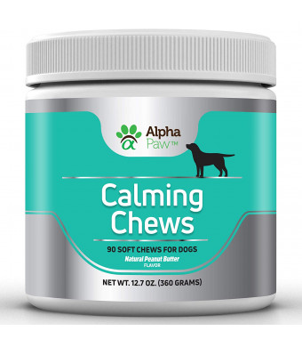 Alpha Paw Calming Treats for Dogs - Effective Dog Anxiety Relief with Hemp, L-Theanine and Chamomile - Stress, Separation, Motion Sickness, Sleep - 360 gm Approx. 90 Dog Calming Treats (Soft Chews)
