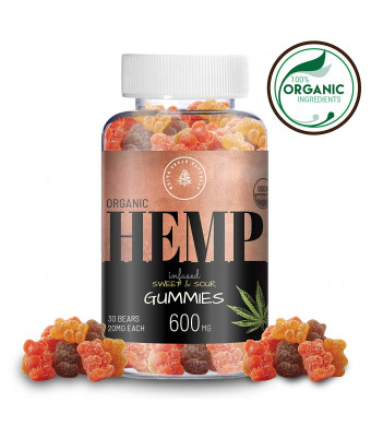 Organic Hemp Oil Extract Gummies - 600MG (20MG/Gummy) Helps Relieve Pain, Stress and Anxiety - Better Sleep - Made with Full Spectrum Colorado Hemp, Rich in Omega 3-6-9 and Vitamin E, Non-GMO, Vegan.