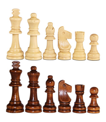 ASNEY Wooden Chess Pieces, Tournament Staunton Wood Chessmen Pieces Only, 3.15 King Figures Chess Game Pawns Figurine Pieces, Includes Storage Bag