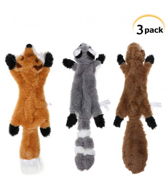 PDTO Stuffingless Dog Toy, Stuffing Free Dog Chew Toys Set with Squirrel Raccoon and Fox Squeaky Plush Dog Toys for Small and Medium Dogs - 3 Packs, 18 Inch
