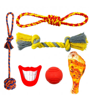 Fairwin Dog Toys, 5-7 Packs Dog Chew Toys with Rope Toys and Squeaky Toys for Large Medium Small Dogs