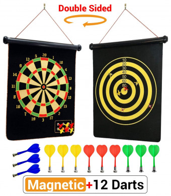PremiumExclusives 2019 Magnetic Dart Board | Double Sided Rollup Dart Board | 12 Safe Darts of 4 Colors and 2 Dart Games for Complete Family Fun | Excellent Gift for Kids Room or Man Cave