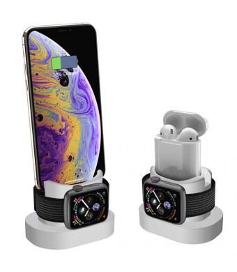 XDODD Charging Stand for Apple Watch, AirPods Charger Standand iPhone X/8/8Plus/7/7Plus/6s/6s Plus, 2 in 1 Charging Dock for Apple Watch, Charging Station for iWatch Series 4/3/2/1 (White)