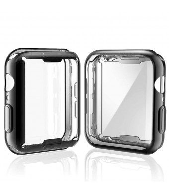 [2-Pack] Julk Case for Apple Watch Series 4 Screen Protector 44mm, 2018 New iWatch Overall Protective Case TPU HD Black Ultra-Thin Cover for Apple Watch Series 4 (1 Black+1 Transparent)