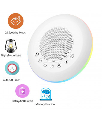 EliveBuy White Noise Sound Machine for Kids Adult, Baby Rest Night Light, with Memory and Timer Function 20 Soothing Music, Battery or USB Output Charger