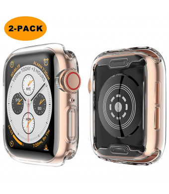 [2 Pack] Langboom for Apple Watch 4 Clear Case with TPU Screen Protector 44mm - All Around Protective Case HD Ultra-Thin Cover for iwatch Series 4 44mm