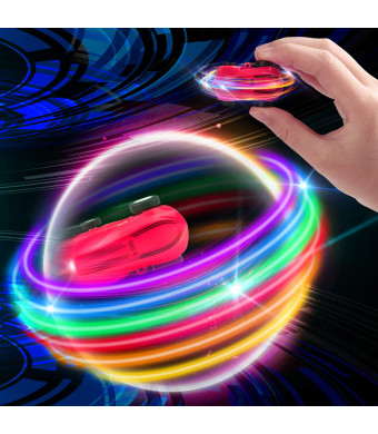 JVIGUE Micro Racers Mini Cars Toy - Micro Pocket Racer LED Light Up Glow in The Dark Car Spinner Toys for Boys or Girls, Keychain Cars w/ Balls for Kids (Red)