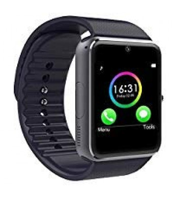 Wingtech Bluetooth Sport Smart Wrist Watch 1.54 Inch Touch Screen Smart Watch Supports SIM Card Slot/TF Card with Pedometer Camera Sleep Monitor for Android Samsung Huawei LG Smartphones (Black)