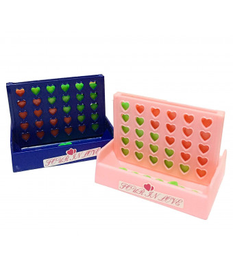 Connect 4 in Row Game Heart Shape Pack of 2 Board Pink and Blue Color Travel Size 3 inches Best Valentine Gift