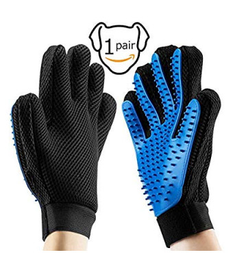 PETSCOOL Pet Grooming Gloves Gentle Efficient Pet Hair Remover Mitt Perfect for Dog and Cat with Long or Short Fur Breathable Washing Deshedding Massage Tool - 1 Pair(Blue)