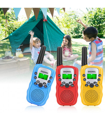 Walkie Talkies, Dignel Walkie Talkies for Kids, 3 Pack Mini 22 Channels Radio Toy, 3 Mile Range Kids Walkie Talkies for Outside Adventures, Camping, Hiking