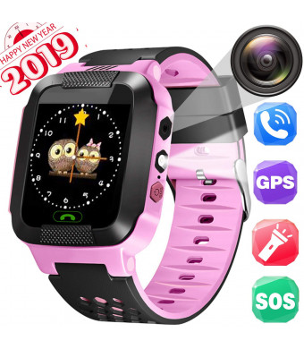 Kids Smartwatch, GPRS+LBS Location Tracker, Phone Watch, Camera Watch, Voice Chat, Phone Calls, Smart Gifts for Kids from 3-14 Years Old (Pink)