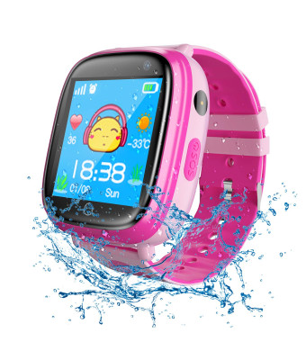 Smart Watch for Kids Waterproof Smartwatch with GPS Tracker Function -IP67 Waterproof- SOS Alarm Clock Flashlight Camera with Phone Christmas Birthday Gift for Children (Pink)