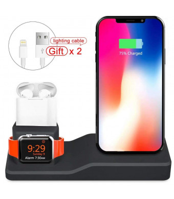 UHKZ Compatible Apple Watch Charging Stand,Silicone 3 in 1 Charging Docks Holder for iWatch Apple Watch Series 4/3/2/1/ AirPods/iPhone Xs/X Max/XR/X/8/8Plus/7/7 Plus/6S/6S Plus/iPad