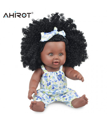 AHIROT Black Doll Fashion Girl Play Doll African American Baby Doll for Birthday Gift 12inch Lifelike Baby Doll for Kids