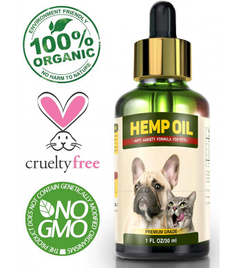 Hemp Oil for Dogs and Cats - Full Spectrum Hemp Extract - 500mg - All Natural Pain Relief for Dogs and Cats, Calming, Stress and Anxiety Support, Wellness, Hip and Joint Health - Easily Apply to Treats