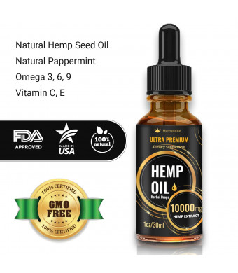 Hemp Oil Extract 10000mg for Pain Relief, Natural Anti Anxiety, Stress Relief, Helps with Sleep, Beautiful Hair and Skin, 1 Fl Oz (30 ml)