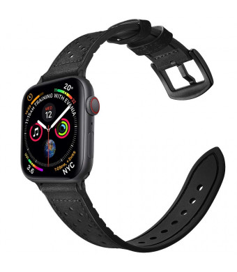 Mifa Hybrid Sports Band Compatible with Apple Watch 4 40mm Series 3 2 1 38mm Replacement Straps Sweatproof Classic Dress iwatch Nike Space Black Grey Gray Men Women HB (38/40 mm - BD Black)