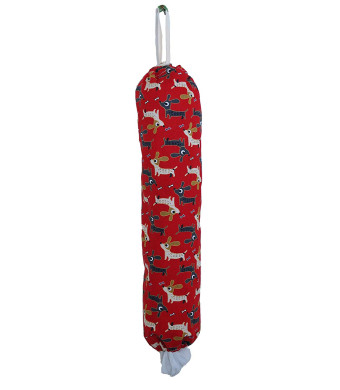 Plastic Grocery Bag Holder and Dispenser - Toy dog, red