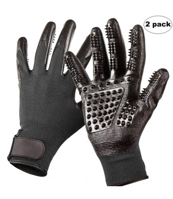 Pet Grooming Gloves - Enhanced Five Finger Design  Gentle Deshedding Glove with Textured Silicone Nubs, Combing Brush Massager for Cats and Dogs Long Short Coats, Loose Fur - 1Pair, LeftandRight(Black)