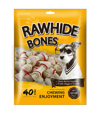 MODONE Rawhide Bones,Real Pork Dog Treats for Small or Toy Dog