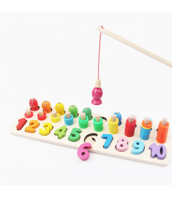 Fishing Toy and Number Puzzle Board Set, 1-10 Wood Blocks Counting Interactive Math Chart Games, Waldorf Montessori School Learning and Educational Toys for Kids Toddler Baby Boys Girls, Chunky Puzzle