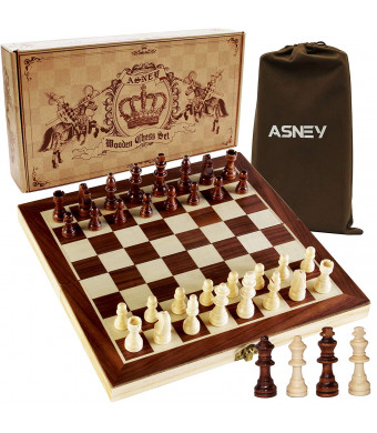 ASNEY Upgraded Magnetic Chess Set, 12 x 12 Folding Wooden Chess Set with Magnetic Crafted Chess Pieces, Chess Game Board Set with Storage Slots, Includes Extra Kings Queens and Carry Bag