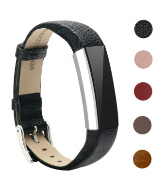 Bands Compatible for Fitbit Alta and Fitbit Alta HR, Bear Village Genuine Leather Band for Fitbit Alta HR, Adjustable Replacement Sport Wrist Bands for Fitbit Alta Fitness Tracker - Black