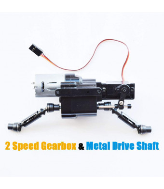 MaxMetal WPL RC Car Split Transfer Speed Gearbox 2 Speed Transmission with 370 Motor+Servo with Metal Drive Shaft for WPL B14 B24 B16 B36 C14 C24