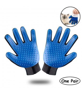 OMORC Pet Grooming Glove, Pet Hair Remover Massage Mitt, Gentle Deshedding Brush Glove with Enhanced Five Finger Bath Brush Design for Dogs Cats and Horses Long and Short Fur (1 Pair)