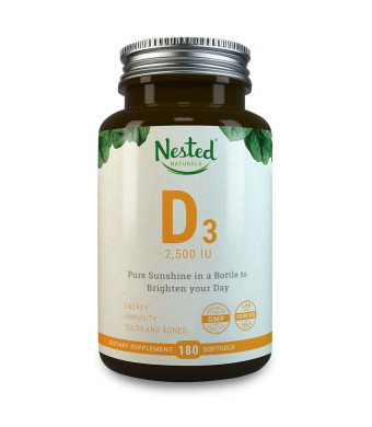 VITAMIN D3 (2500 IU) | 180 Premium Quality Vegetarian Softgels | Pure Daily D Vitamins Supplement for Men and Women | Made With Ethically Sourced Lanolin | 100% Non GMO, Gluten Free and Soy Free Supplemen