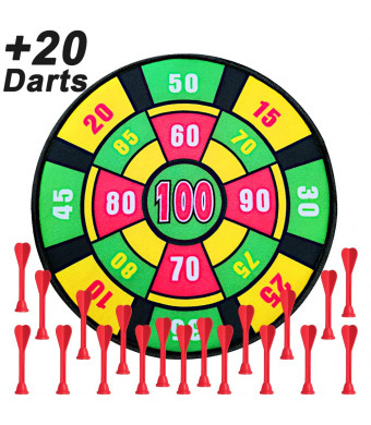 Kids Dart Board Game with 20 Darts, 13.7 Inches (35 cm),Family Board Game for Boys and Girls Age 3 and Up,Dart Board Game for Kids