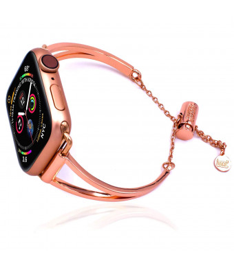 The Original Luv Cuff Band Bracelet Compatible for Apple Watch 2019 Dressy Fancy Jewelry Bangle Cuff Apple Watch Bands Series 4 3 2 1 Women Girls Adjustable Premium Pendant (38mm / 40mm / Rose Gold)