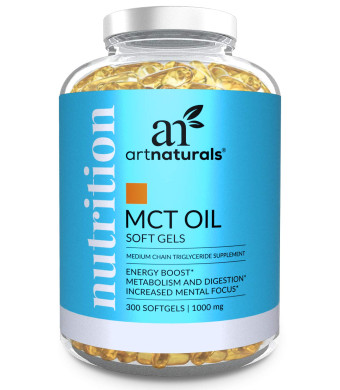 ArtNaturals MCT Oil Softgels Capsules (300 Count / 1000mg) - Keto Diet - Coconut Perfect Soft Gel Pills Ketogenic Diet Caprylic Acid C8 Medium Chain Triglycerides Ketosis Supplement