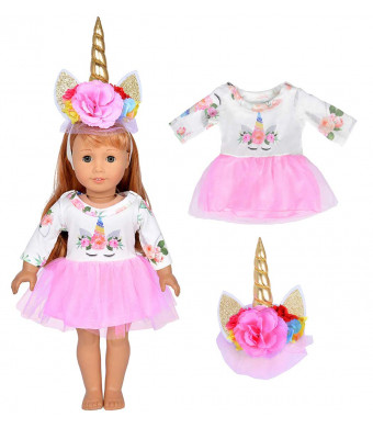 ibayda 2pc/Set Long Sleeve Veil Soft Unicorn Doll Dress Clothes with Headband for 18 inch Dolls Like American Girl, Journey Girl Dolls, Our Generation Dolls