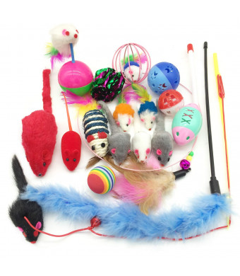 Pietypet Cat Toys Kitten Catnip Toys Assorted, Variety Catnip Toy Set, Interactive Feather Teaser, Fluffy Mouse, Tumble Cage Mice, Crinkle Rainbow Balls Bells Toys for Puppy Kitty, 2 Way Tunnel