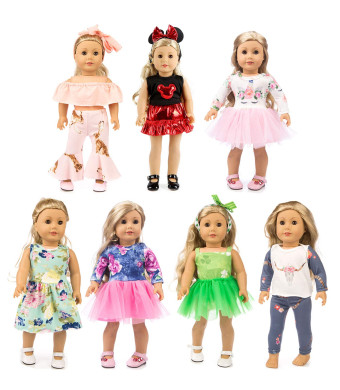 XFEYUE 7 Sets of American Doll Clothes Gifts, Creative Mickey Doll Clothes and Unicorn Fashion Veil - Suitable for 18-inch Girls Doll Costumes