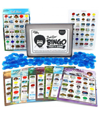 Bob Ross Bingo Party Game | Set Includes- 8 Bob Ross Bingo Cards, 250 Blue Bingo Chips, 35 Bob Ross Quote/Paint Color Chips, Call Sheet and Instructions