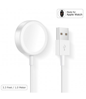 AILANSI Watch Charger Charging Cable, iWatch Magnetic Wireless Charging Cable Cord Compatible with iWatch Series 3 2 1, Portable Charger Pad Stand for All 38mm 42mm (3.3 FT/1.0M)
