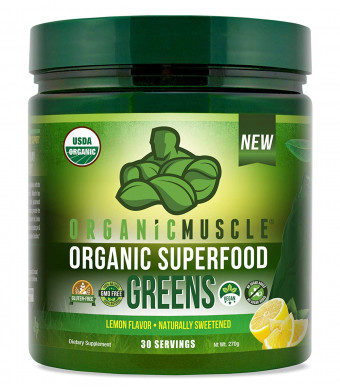Certified Organic Superfood Greens Powder | Keto Green Juice Supplement for Energy, Detox, Immune Support and Gut Health w/Pre and Probiotic Blend | Vegan, Non-GMO, Lemon Flavor, 30 Serv | ORGANIC MUSCLE