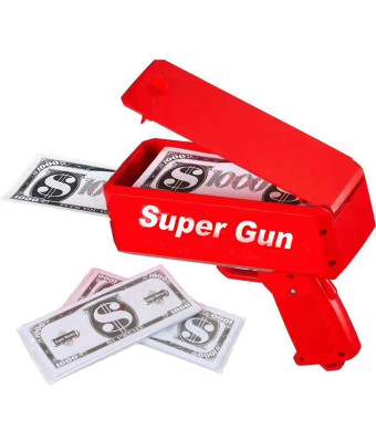 Sopu Make it Rain Money Gun Paper Playing Spary Money Toy Gun, Prop Money Gun with 100 Pcs Play Money Cash Gun Party Supplies (Money Gun)